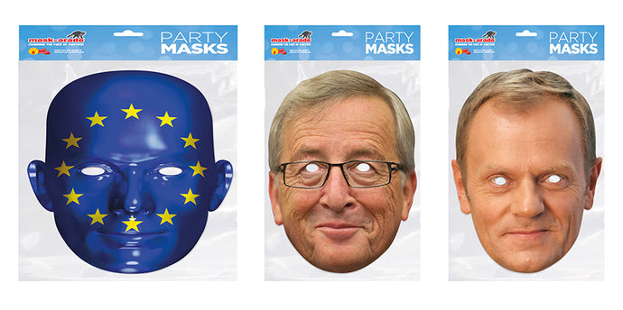 Jean Claude Juncker, Donald Tusk and EU Flag Offical Face Masks