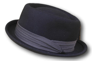 Premium black wool pork pie rude boy hat - Medium