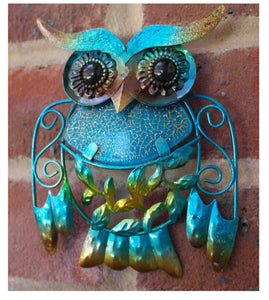Blue and golden coloured metal and glass Owl Plaque , tweet twooo
