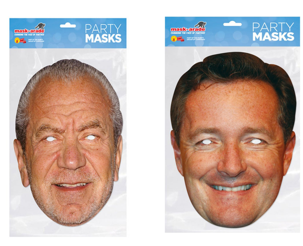 Piers Morgan and Alan Sugar Official Fancy Dress Face Masks