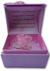 Gift for your Mother - Hand sculpted crystal rose pose with 22kt detailing