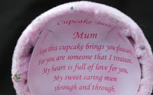 Load image into Gallery viewer, Glass bear in a cupcake shaped gift box for a special mum