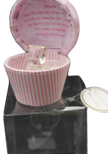 Glass bear in a cupcake shaped gift box for a special mum