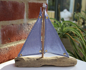 Nautical Driftwood Blue and White Model Sailing Boat