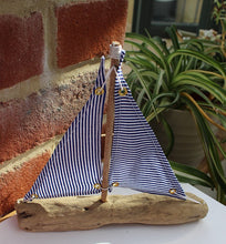Load image into Gallery viewer, Nautical Driftwood Blue and White Model Sailing Boat