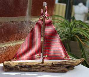 Nautical Driftwood Model Red and White Sailing Boat