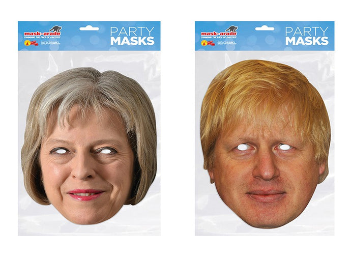 Theresa May and Boris Johnson Politicians Face Masks