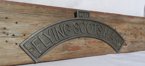 Curved cast iron Flying Scotsman wall mounting plaque for bedroom shed office train warehouse