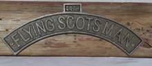 Load image into Gallery viewer, Curved cast iron Flying Scotsman wall mounting plaque for bedroom shed office train warehouse