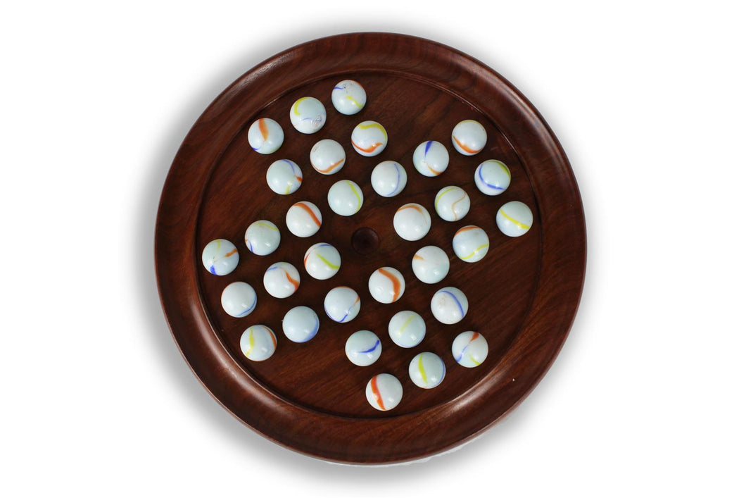 Large polished wooden solitaire set - 30cm diameter with White Coloured Balls