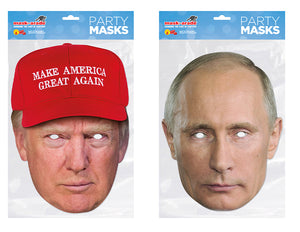 Donald Trump Red Hat and Vladimir Putin Official Celebrity Face Masks