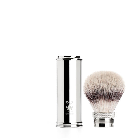 Pictured: The TRAVEL Chrome Silvertip Fibre shaving brush by MÜHLE