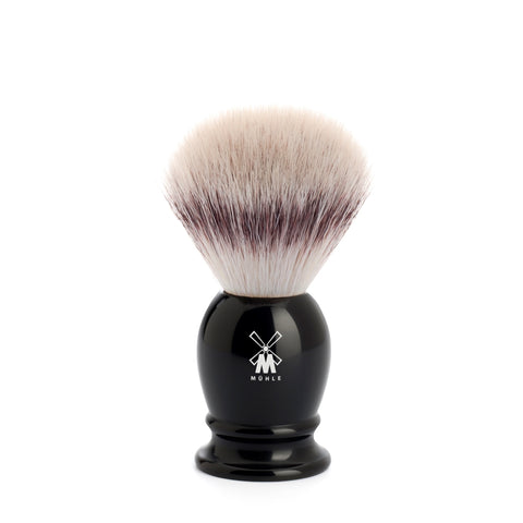 Pictured: The CLASSIC Black Resin, Silvertip Fibre shaving brush by MÜHLE