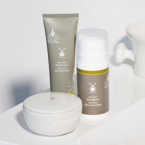 Pictured: The Aloe Vera Shaving Cream, Aftershave Balm and Shaving Soap in Bowl by MÜHLE