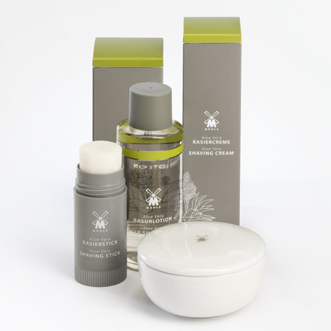 The Aloe Vera Shave Care range, including Aftershave Lotion, all by MÜHLE