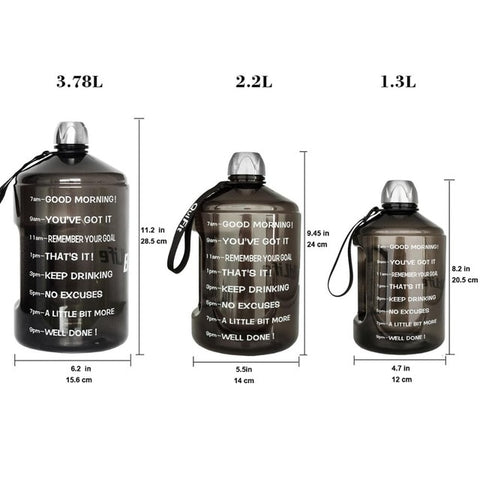 BuildLife 1 Gallon Water Bottle with Time Marker