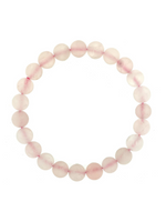 Load image into Gallery viewer, Rose Quartz Matte Round Bead Bracelet - One Size