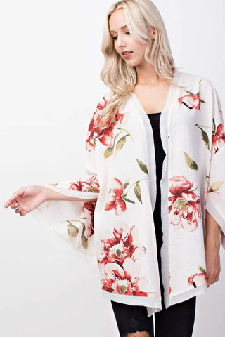 Ivory and Pink Floral Slit Sleeve Kimono