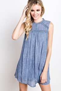 Washed Crinkle Lace Neck Sleeveless Dusty Blue Dress or Tunic Top