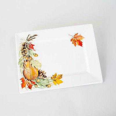 Mary Lake Thompson Fall Leaves Harvest Thanksgiving Ceramic Serving Platter NEW HY0076