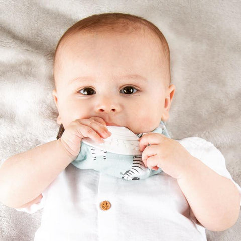 Cheeky Chompers Organic Muslin Neckerchew Teething Bib Zebra Night