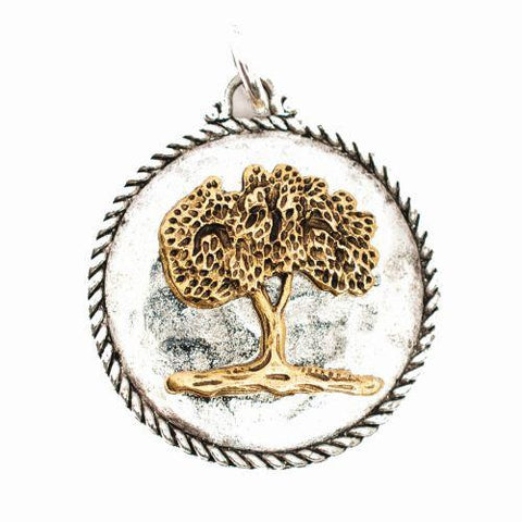Beaucoup Designs Aimez Two Tone Tree of Life Charm 14K gold & Sterling Silver plated Made in USA