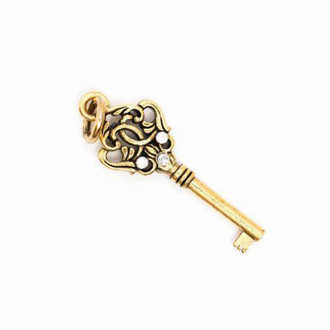 Beaucoup Designs Aimez Key Charm with rhinestones 14K gold plated Made in USA