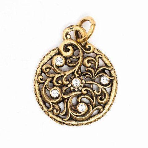 Beaucoup Designs Aimez Timepiece Charm with scrollwork & rhinestones 14 kt gold plated Made in USA