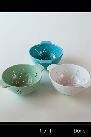 Ceramic Berry Colander - White, Blue Or Green ~ 8.25
