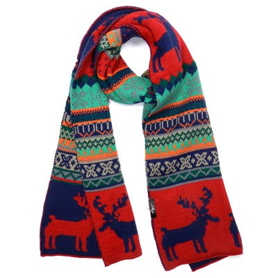 Acrylic Reindeer Scarf Blue/Red or Black Nordic Pattern Fashion Trend