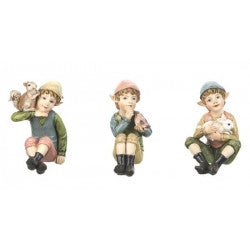 Miniature Sitting Elves Set of 3 Figures for Fairy Garden ~ 2 3/4