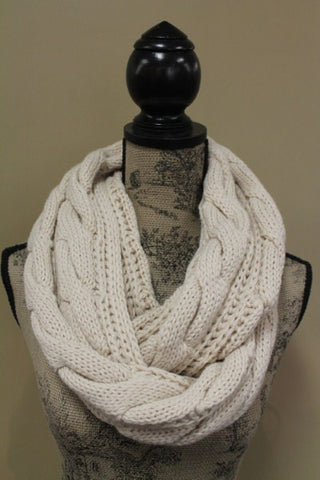 Acrylic Ivory or Black Cable Long Infinity Scarf Snuggly Warm Fashion Trend