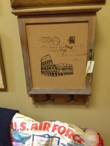 New Vintage Style Corkboard Message Center With Cubby & Hooks Ro