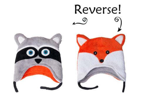Reversible Fox/Raccoon Fleece Baby/Toddler Hat age 3 mos - 3  Flapjack Kids