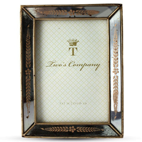 Gold Leaf Antiqued Mirror Photo Frames 4x6 or 5x7 by Two's Company  NEW Elegant Wedding Gift