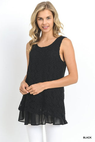 Lightweight Crocheted Lace Black Sleeveless Tunic with Ruffled Chiffon Hem