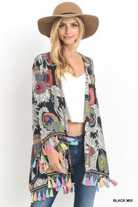 Black Floral Kimono Wrap with Multi-color Tassels