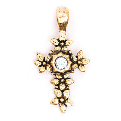 Beaucoup Designs Floral and Rhinestone Cross Charm 14k Gold Plated