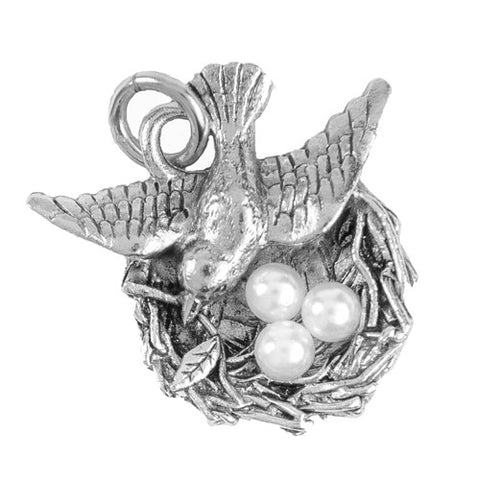Beaucoup Designs Birds Nest Charm for Bracelet Sterling Silver plated Made in USA