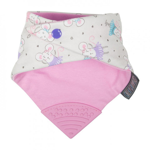 Cheeky Chompers Neckerchew Teething Bib Ballerina Mice