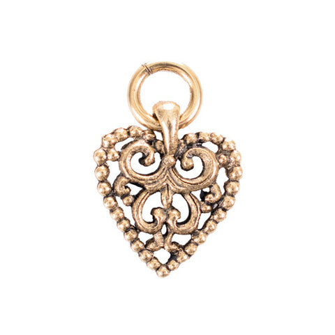Open Scrolled Heart Charm for Bracelet 14k gold or SS plated Made in USA