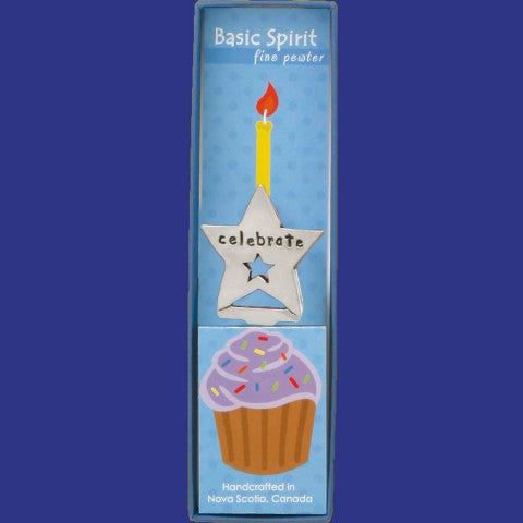 Celebrate Star Pewter Birthday Candle Holder ~ Basic Spirit