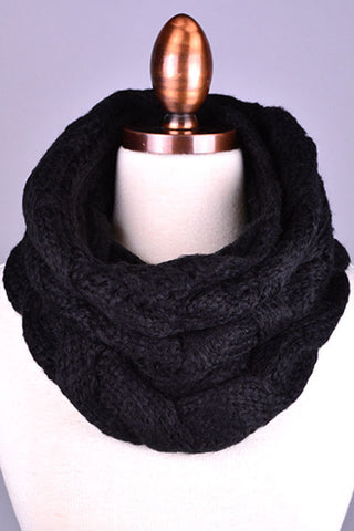 Acrylic Red or Black Cable Infinity Scarf Snuggly Warm Fashion Trend