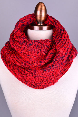 Acrylic Red Ribbed Infinity Scarf Snuggly Warm Fashion Trend