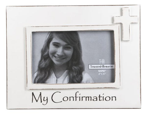 Confirmation White Wood 4x6 Picture Frame with Cross by Ganz Gift NEW