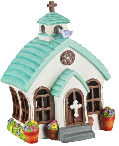 Ganz Mini Chapel Church LED House for Fairy Garden ~ Lights Up  ~ Polystone