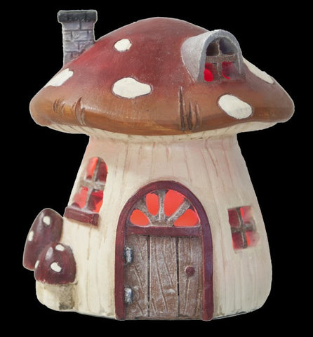 Ganz Mini Mushroom House LED Figure for Fairy Garden ~ Lights Up  ~ Polystone
