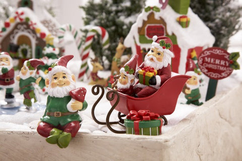 Christmas Santa Sleigh for Fairy Garden Gnome Elves ~ 3
