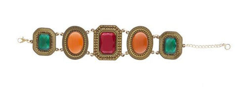 Multi Stone Holiday Color Bracelet ~ Warm Colors  ER22359