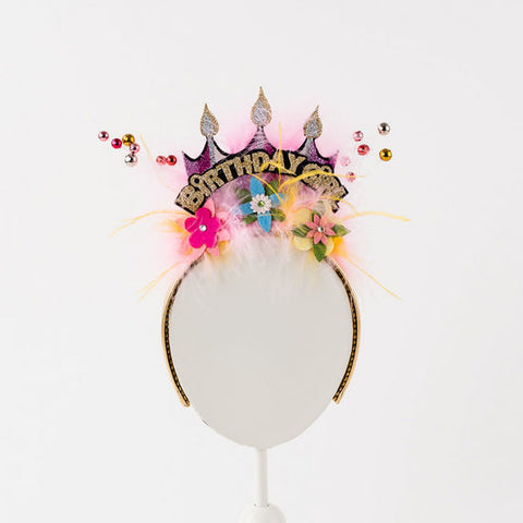 Birthday Girl Floral Princess Crown Headband